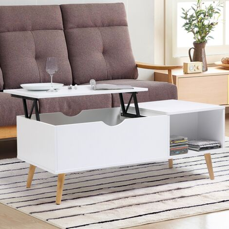 "main image of ""Table basse Effie plateau relevable bois blanc"""