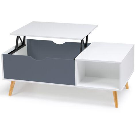 Table basse Effie plateau relevable bois blanc et gris
