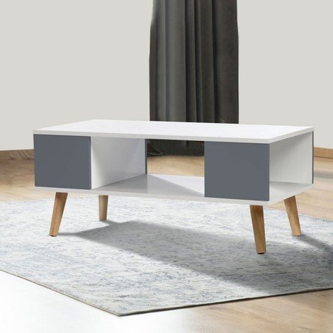 Table basse EFFIE scandinave bois blanc et gris
