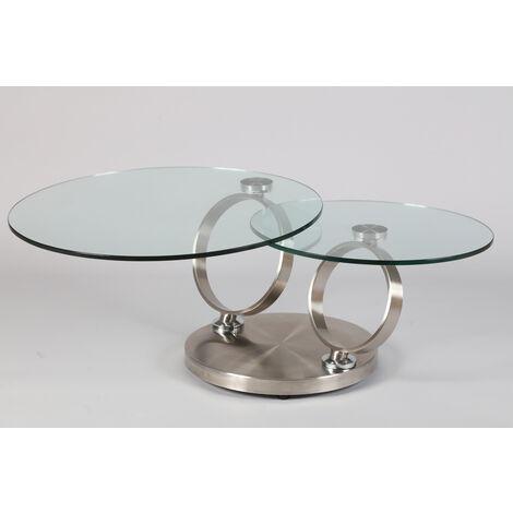 Table Basse En Acier Brosse De 2 Plateaux En Verre Trempe Avec Frein Pegane