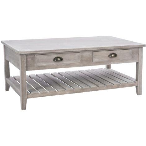 Table Basse En Bois Campagne L 110 X H 45 Cm Gris Marron
