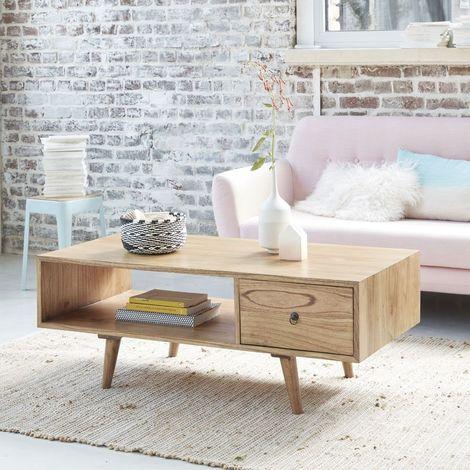 Table basse en bois de mindy avec tiroir - Naturel
