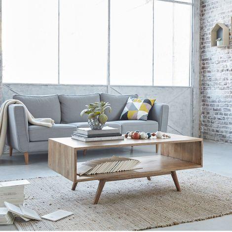 Table basse en bois de mindy double plateau - Naturel