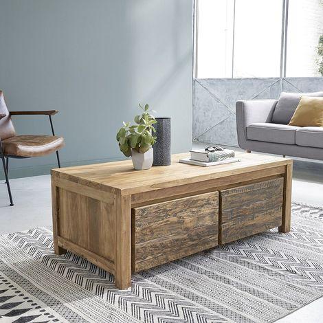 Table basse en bois de teck recyclé 2 tiroirs - Naturel