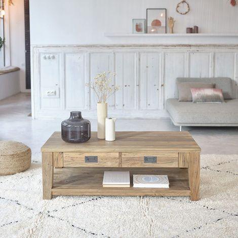 Table basse en bois de teck recyclé double plateau - Naturel