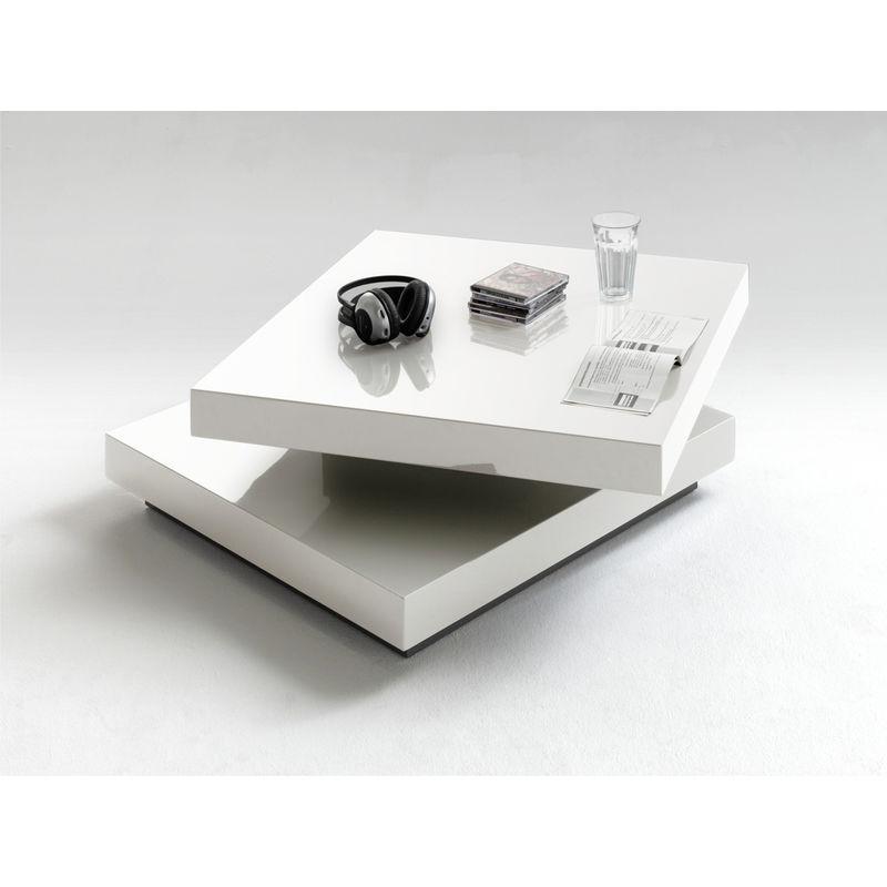 Table Basse En Laqué Blanc Brillant Avec Plateau Pivotant L75 X H30 X P75 Cm Pegane