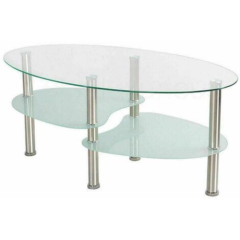 Table basse en verre avec rangement - Blanc