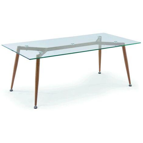 Table basse en verre pieds en métal imitation bois NYBRO