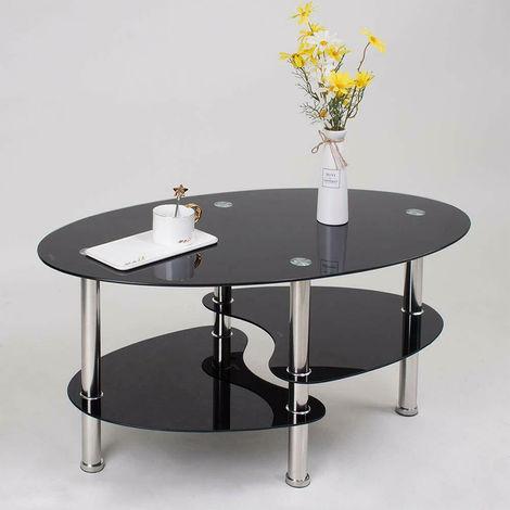 Table basse en verre trempé, 90 * 50 * 43cm noir