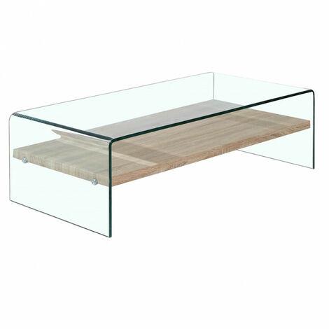 Table basse en verre trempé avec étagère en bois décor chêne - ICE - Transparent
