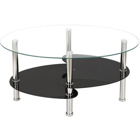 Table Basse en Verre Trempé Table de Salon avec 3 Etagères pour Salle, Salon, Chambre 90x50x45cm Transparente Blanc - Transparente Blanc