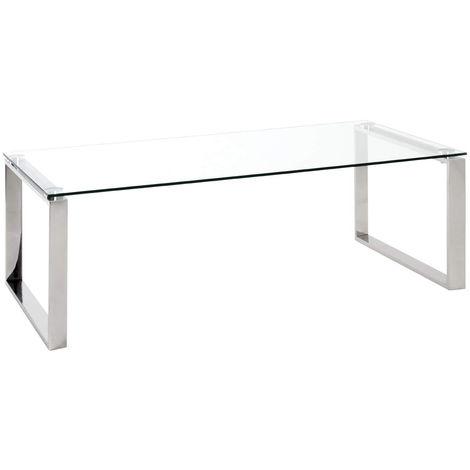Table Basse En Verre Trempe Transparent 120 X 60 X 40 Cm Pegane