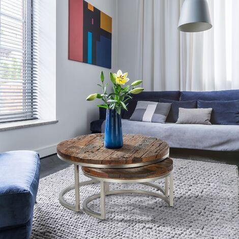 Table basse gigogne bois massif d'acacia pour salle de séjour salon WOMO-DESIGN®