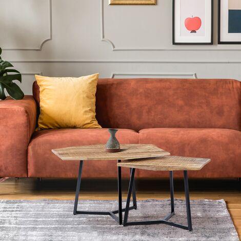 """main image of """"Table basse gigogne en bois massif manguier naturel fer noir set 2x WOMO-DESIGN®"""""""