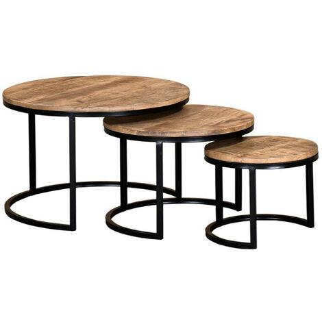 """main image of """"Table basse gigogne manguier massif et métal Aloni - Lot de 3"""""""