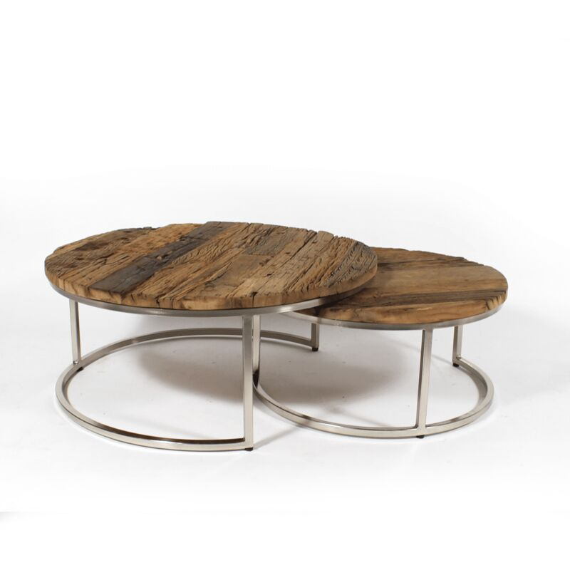 Made In Meubles - Table basse gigogne ronde bois recyclé style brut - pieds métal gris - Bois
