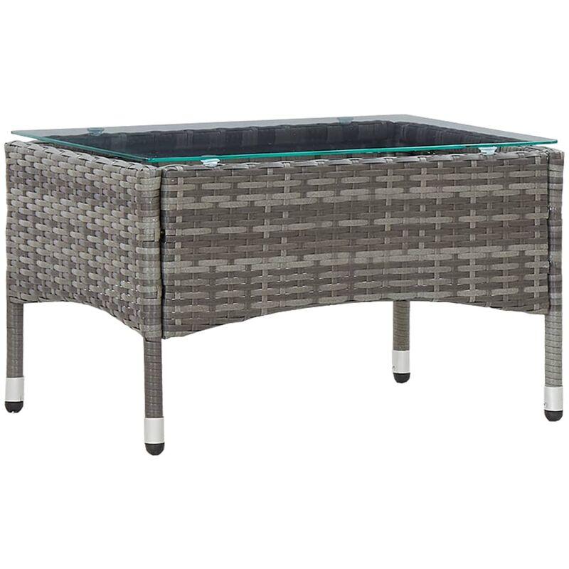 Table basse Gris 60x40x36 cm Résine tressée9074-A