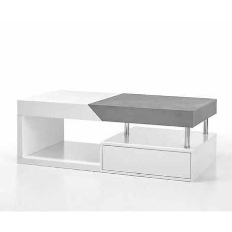 "main image of ""Table basse HOLLY finition laqué blanc et béton 1 tiroir - blanc"""