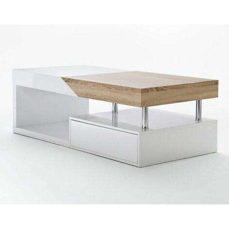 "main image of ""Table basse HOLLY finition laqué blanc et bois 1 tiroir - blanc"""