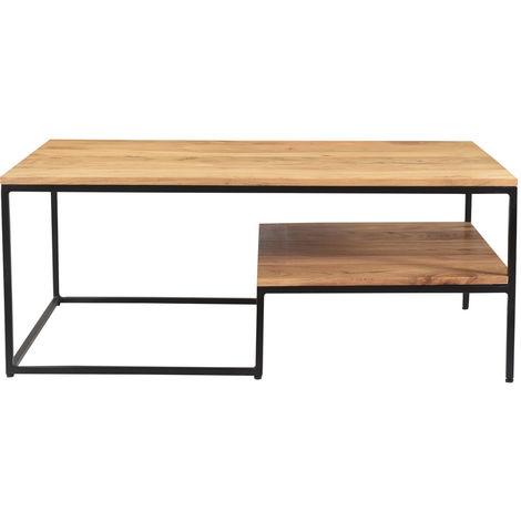 Table basse industrielle en acacia massif et métal YONA
