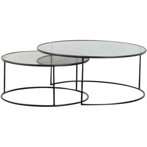 "main image of ""Table basse industrielle gigogne ronde plateau verre - Métal"""