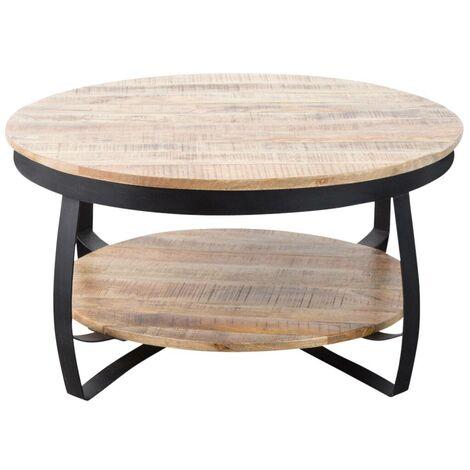 """main image of """"Table basse industrielle ronde bois et métal deux plateaux - Bois"""""""