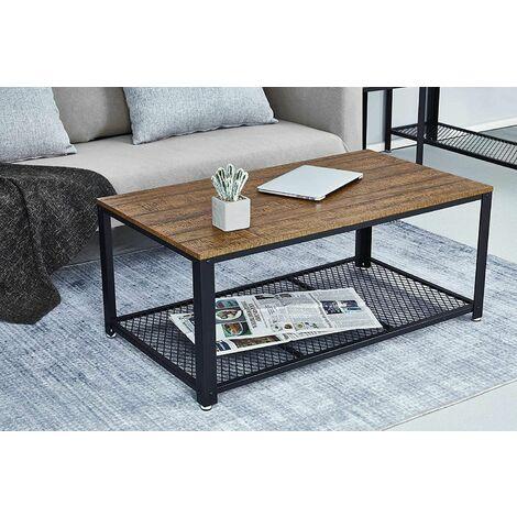 """main image of """"Table Basse Industrielle Table de Salon Style Vintage, Industriel, Veinure du Bois et Armature de Métal -106 x 60 x 45 cm - Meerveil"""""""