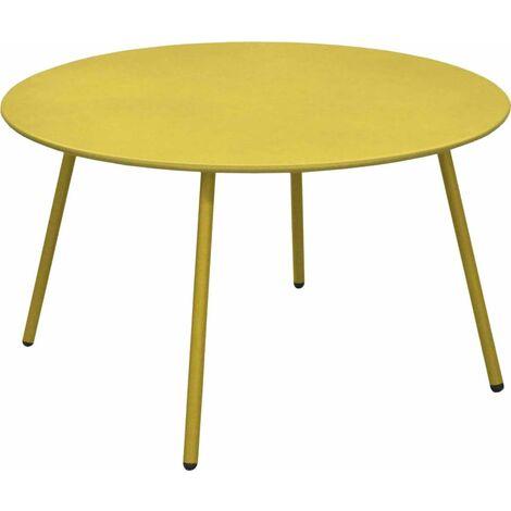"main image of ""Table basse jardin ronde en acier Rio 70 cm bleu - Bleu"""