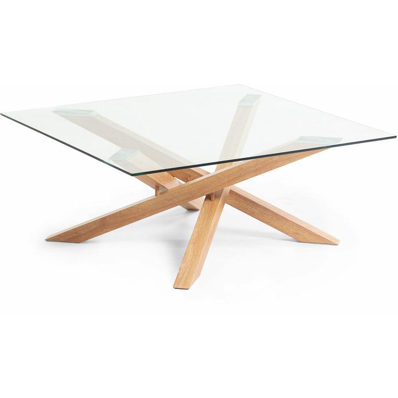 Table Basse Kamido Plateau Verre Pieds Metal Finition Bois Cc1106c07