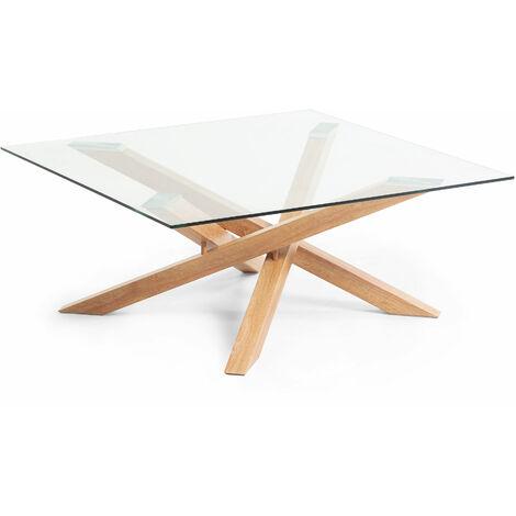 bas prix 8639f a0715 Table basse Kamido plateau verre pieds métal finition bois
