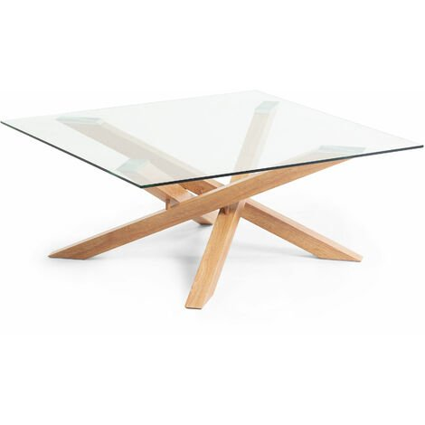 Table Basse Kamido Plateau Verre Pieds Metal Finition Bois