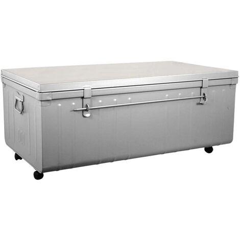 Table basse malle en métal
