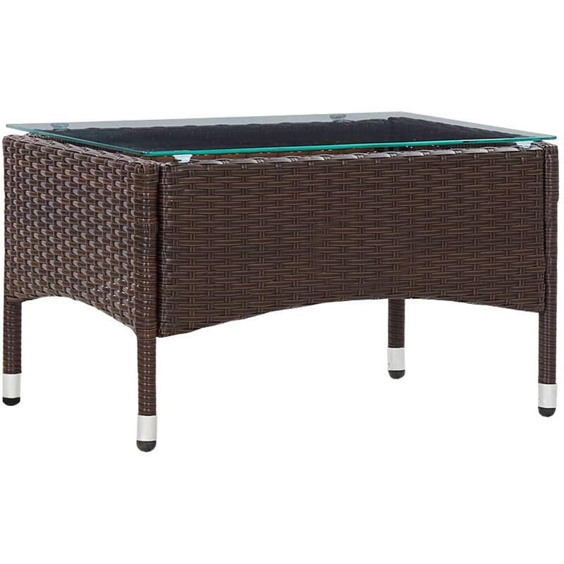Table basse Marron 60x40x36 cm Résine tressée