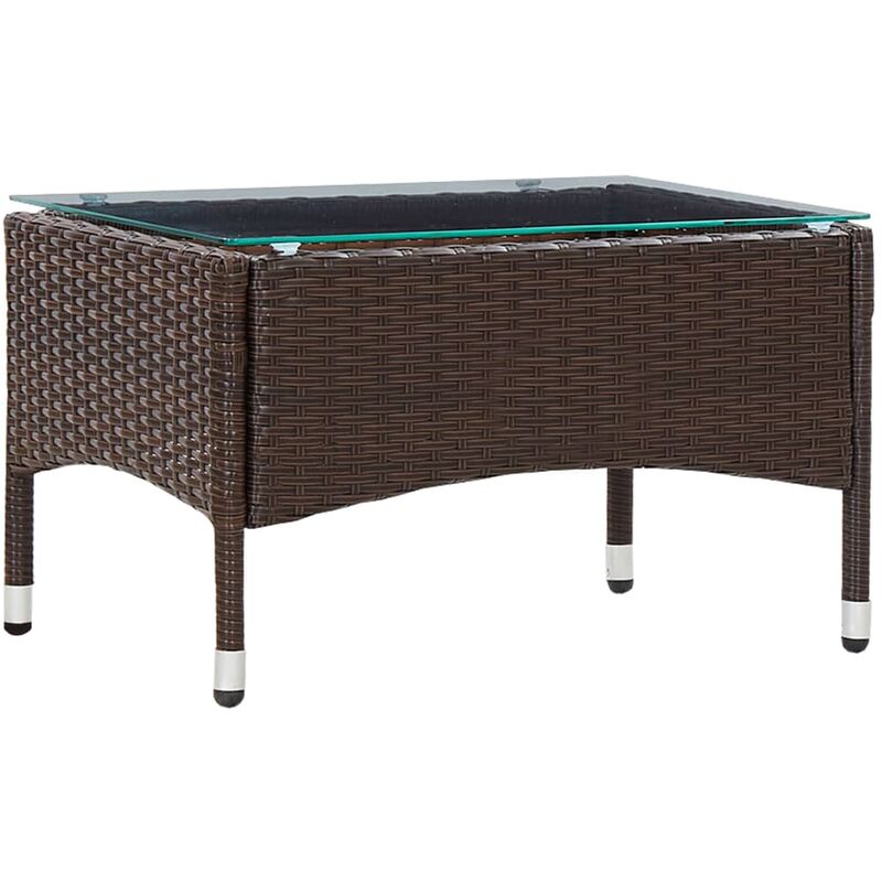 Table basse Marron 60x40x36 cm Resine tressee