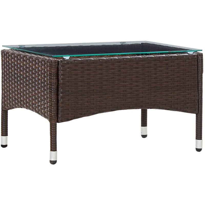 Table basse Marron 60x40x36 cm Résine tressée9072-A