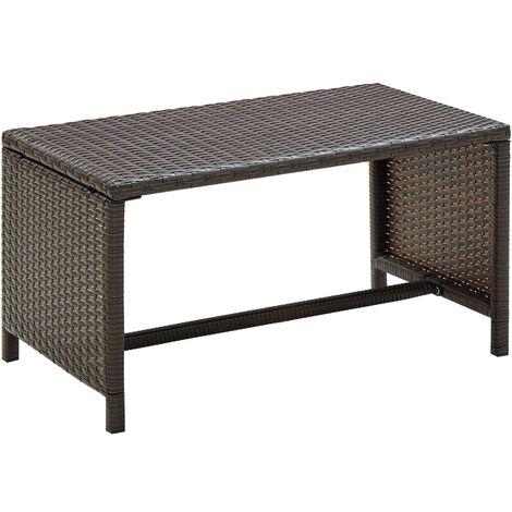 Table basse Marron 70x40x38 cm Résine tressée