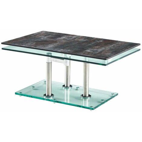 """main image of """"Table basse MATCH CERAMIQUE ANTHRACITE 2 plateaux pivotants en verre piétement chrome - gris"""""""