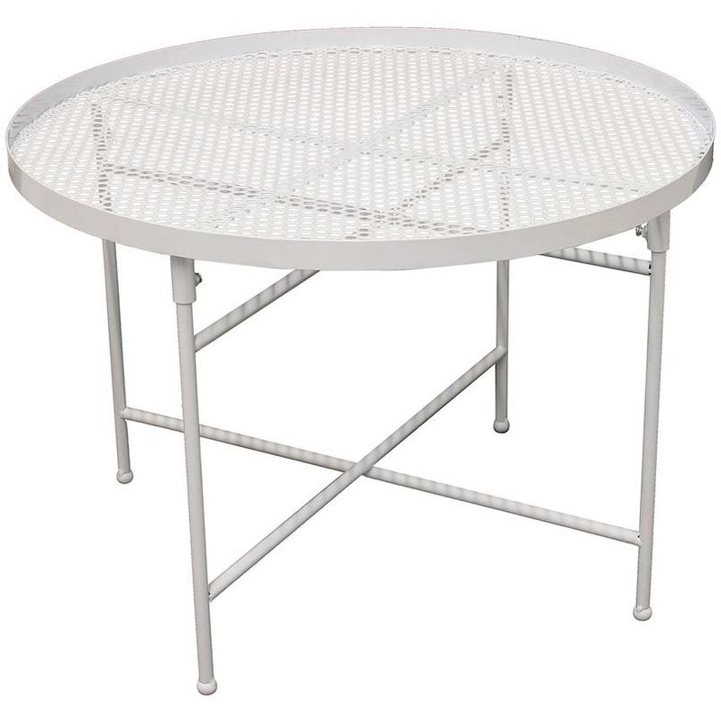 Table Basse Metal Blanc.Table Basse Metal Perfore 50 Cm Blanc
