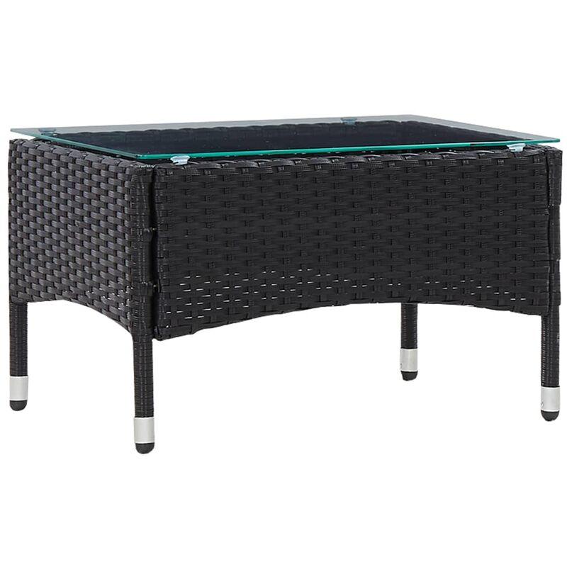 True Deal - Table basse Noir 60x40x36 cm Résine tressée