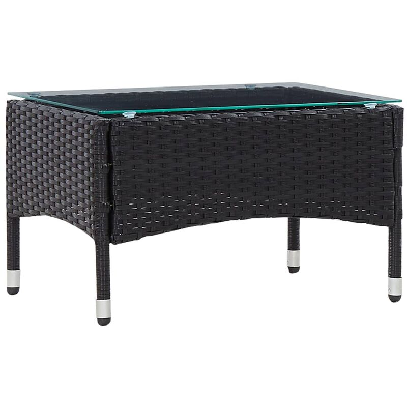 Table basse Noir 60x40x36 cm Résine tressée9073-A