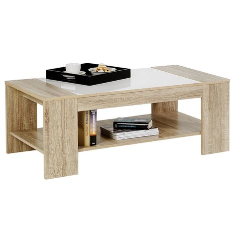 Table basse NOVO MDF décor sonoma & blanc brillant