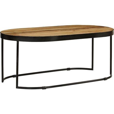 table basse ovale bois massif de manguier brut et acier. Black Bedroom Furniture Sets. Home Design Ideas