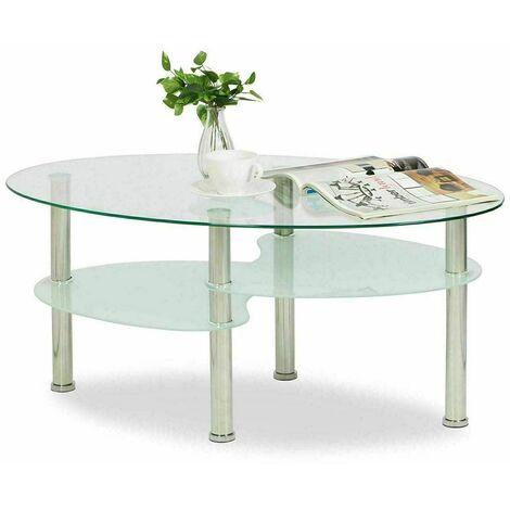 Table Basse Ovale en Verre trempé, 3 Niveaux, Pieds en Acier Inoxydable, 90*50*43cm, Transparente Blanc - Transparente Blanc