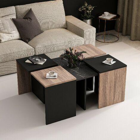 """main image of """"Table Basse Owen Compacte Modulable - avec etageres - pour Salon, Canape - Noir en Bois, 88 x 74 x 12,2 cm"""""""