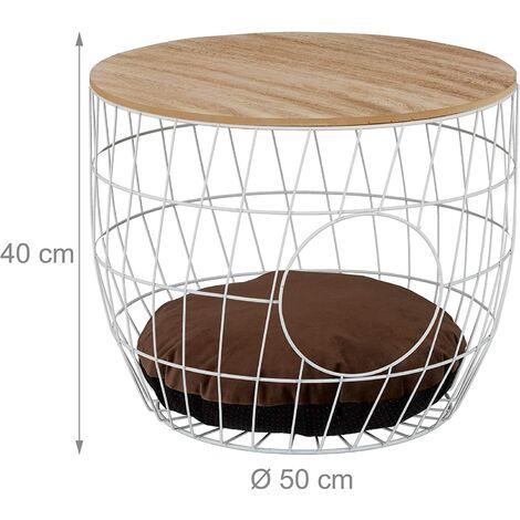 Table basse panier avec grotte pour chats et chien bois et acier blanc - Blanc