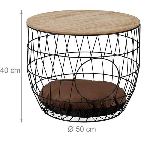 Table basse panier avec grotte pour chats et chien bois et acier noir - Bois