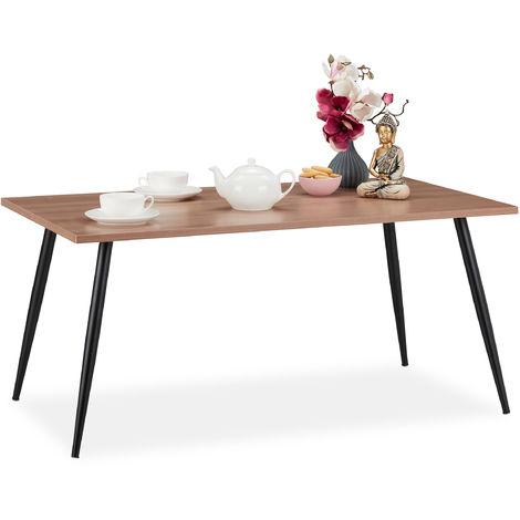 Table basse, pieds métalliques, rectangulaire, design moderne, HxlxP: 45 x 100 x 55 cm, brun/noir