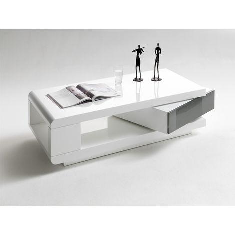 Table basse pivotant coloris Blanc laqué brillant et Gris - L120 x H36 x  P60 cm -PEGANE-