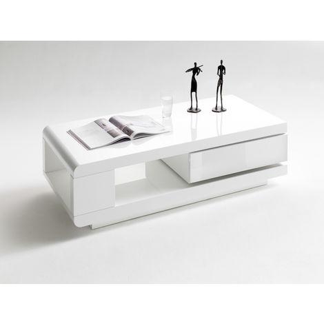 Table Basse Pivotant Coloris Blanc Laque Brillant L120 X H36 X P60 Cm Pegane 53mc 59031ww4
