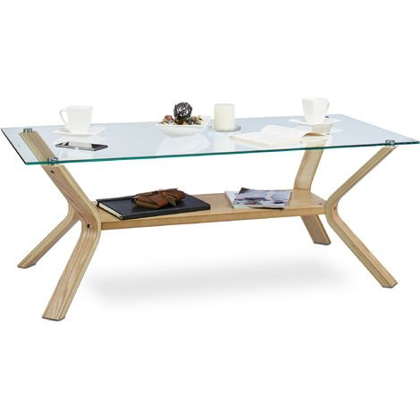 Table basse plateau en verre 120 x 60 cm et bois rectangle table de salon chêne 45 cm de hauteur design moderne, nature